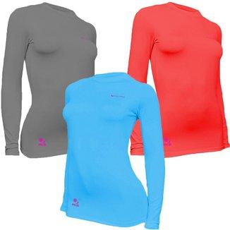 Kit C/ 3 Camisas Feminino Stigli Pro Proteção Solar FPU 50 Manga Longa Luna Poliamida B