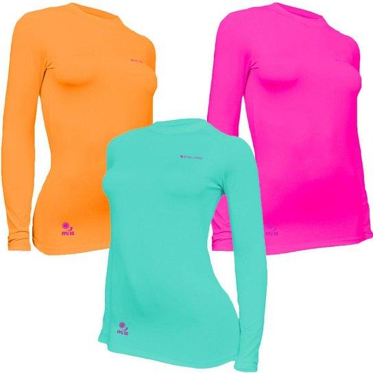 Kit C/ 3 Camisas Feminino Stigli Pro Proteção Solar FPU 50 Manga Longa Luna Poliamida E - Verde água