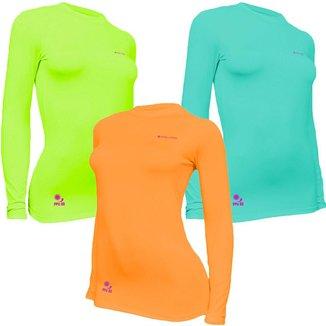 Kit C/ 3 Camisas Feminino Stigli Pro Proteção Solar FPU 50 Manga Longa Luna Poliamida E