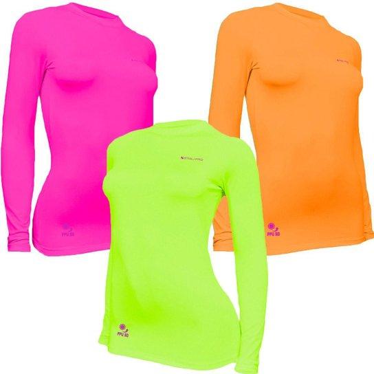 Kit C/ 3 Camisas Feminino Stigli Pro Proteção Solar FPU 50 Manga Longa Luna Poliamida E - Amarelo Fluorescente