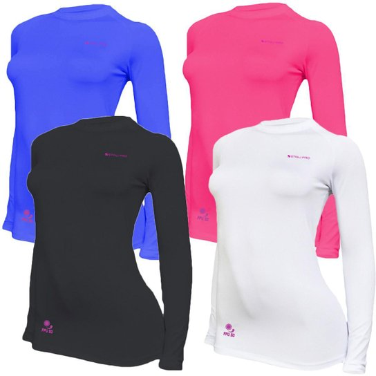 Kit C/ 4 Camisas Feminino Stigli Pro Proteção Solar FPU 50 Manga Longa Luna Poliamida N - Azul+Preto