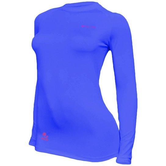 Kit C/ 4 Camisas Feminino Stigli Pro Proteção Solar FPU 50 Manga Longa Luna Poliamida N - Azul+Rosa