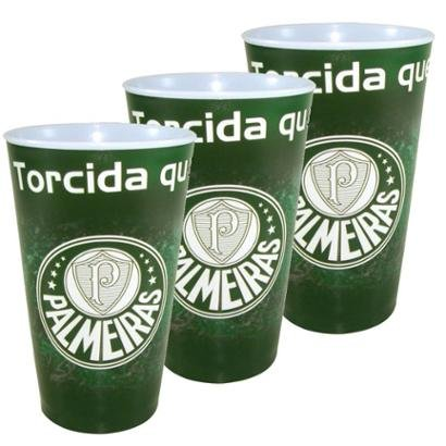 Kit c/3 Copos Plásticos do Palmeiras 550 ml - Unissex