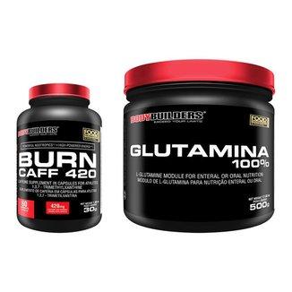 KIT - Cafeína Burn Caff 420 60caps +  Glutamina 500g - Bodybuilders