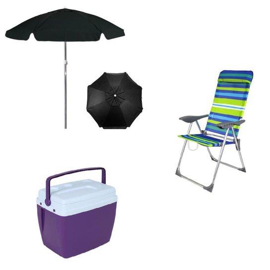 Kit Caixa Térmica 18L + Cadeira de Praia + Guarda Sol Bel - Única