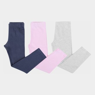 Kit Calça Legging Bebê Brandili Feminina 3 Peças