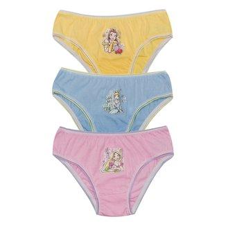 Kit Calcinha Infantil Evanilda Disney Princesas c/ 3 Peças