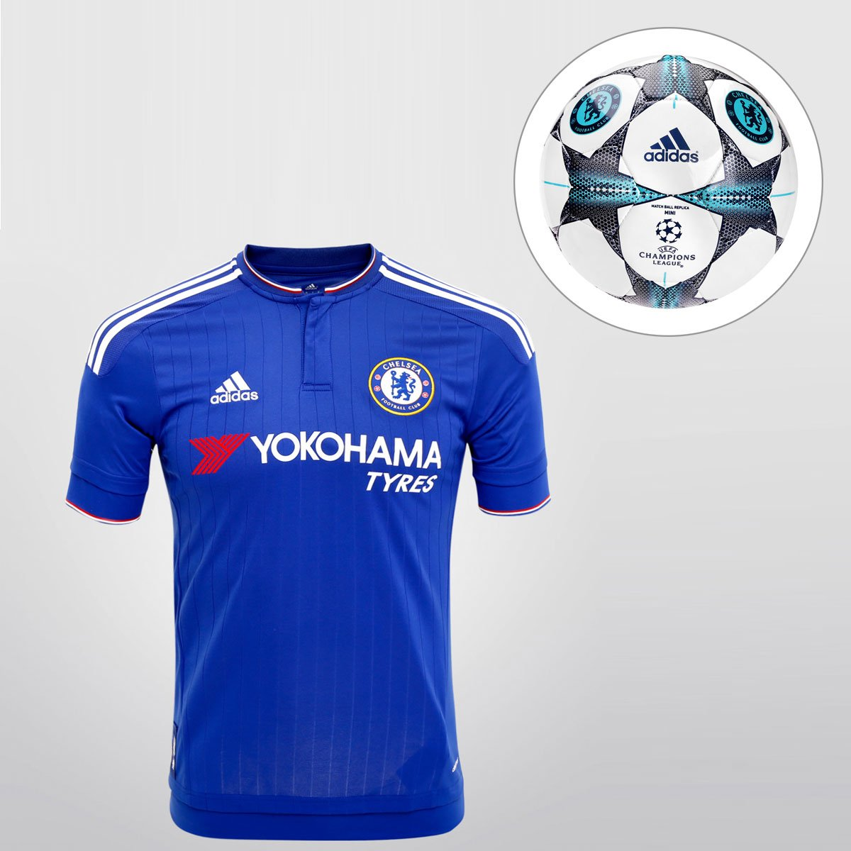 Kit Camisa Adidas Chelsea Home 15 16 s nº + Minibola Adidas Chelsea Finale  15 - Compre Agora  aec0e75931f47