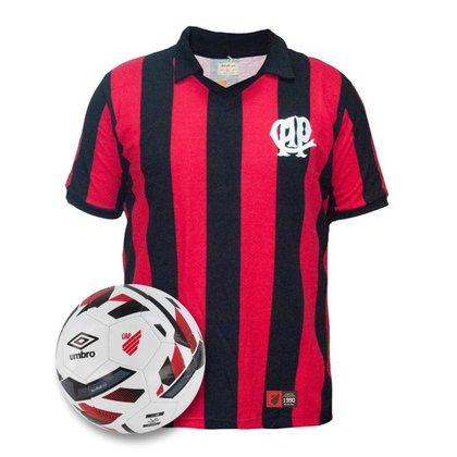 Kit Camisa Athletico Paranaense Retrô 1990 + Bola Oficial