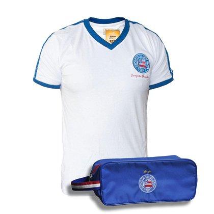 Kit Camisa Bahia Retrô 1988 Branca + Necessaire Oficial