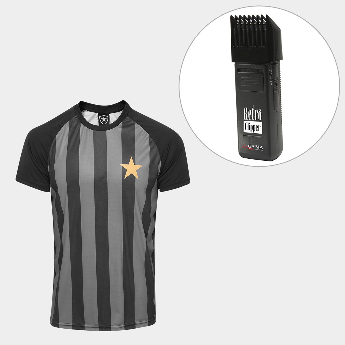 7c45a18d86 Kit Camisa Botafogo Estrela Gold nº 7 - Edição Limitada Masculina + Maquina  Retrô Gama Italy Bivolt - Compre Agora