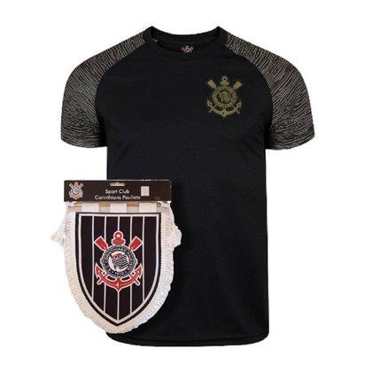 Kit Camisa Corinthians Raglan Gold + Flamula Oficial