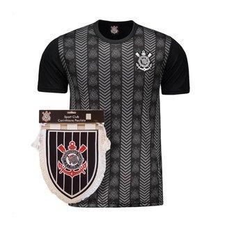 Kit Camisa Corinthians Silver Preta + Flamula Oficial