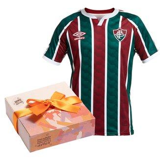 Kit Camisa Fluminense I 20/21 s/n° Torcedor Umbro Masculina + Caixa de Bombo c/ 9 unidades