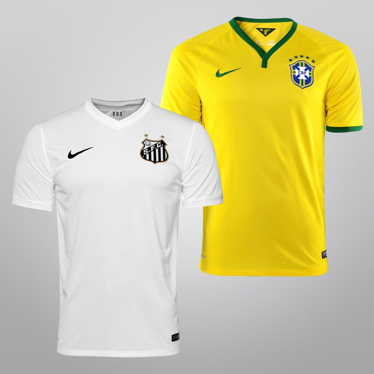 Kit Camisa Nike Santos I 14 15 + Camisa Nike Seleção Brasil I 2014 - Compre  Agora  877a143959303