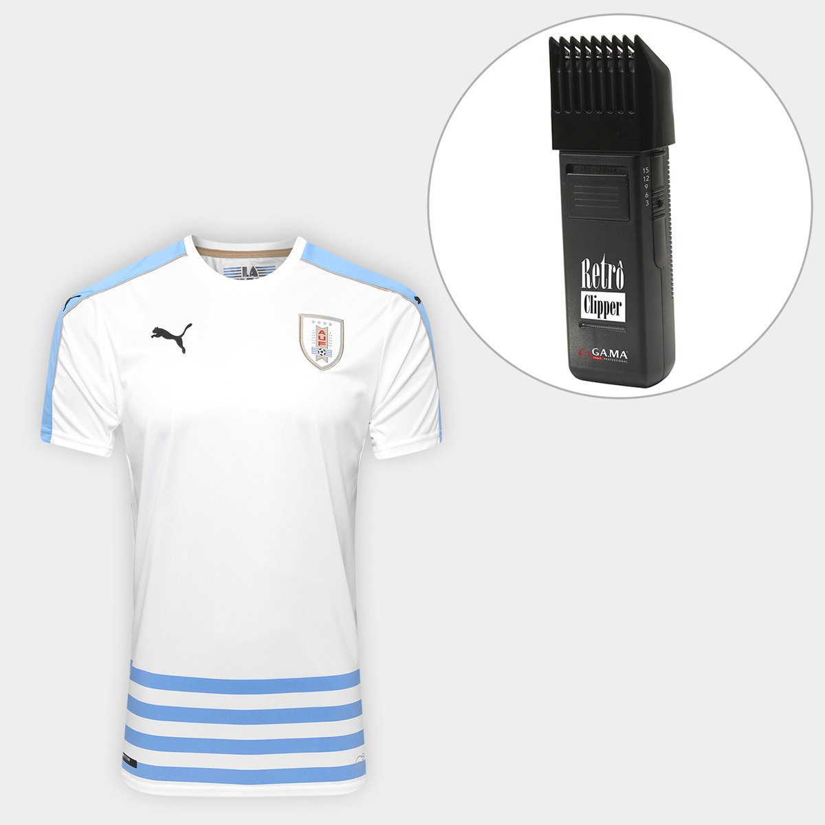 7fcf0ce67e675 Kit Camisa Seleção Uruguai Away 17 18 s nº Torcedor Puma Masculina +  Maquina Retrô Gama Italy Bivolt - Compre Agora
