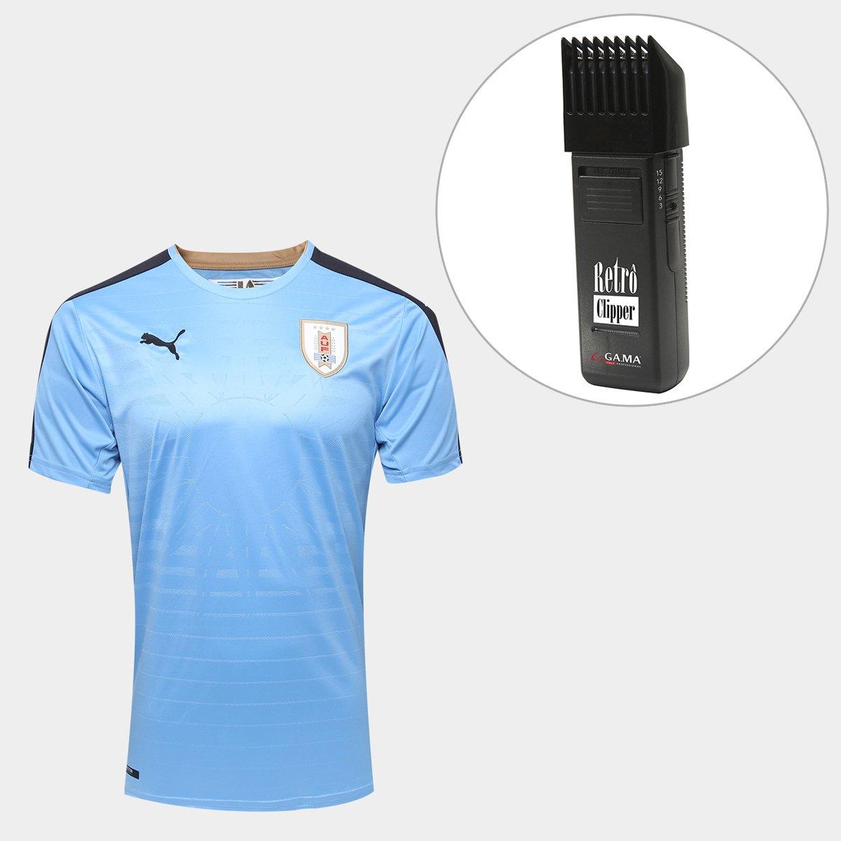 6f7ca5be41dd5 ... Kit Camisa Seleção Uruguai Home 17 18 Torcedor Puma Masculina + Maquina  Retrô Gama Italy Bivolt ...