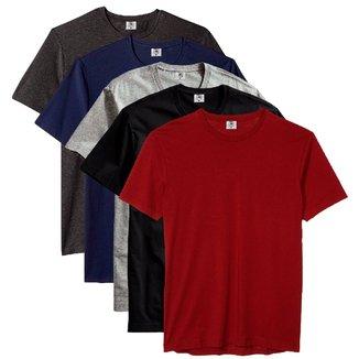 Kit Camiseta Básica Algodão Premium Flamenco 5un. Masculino