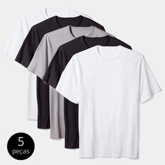 Kit Camiseta Básica c/ 5 Peças Masculina Casual