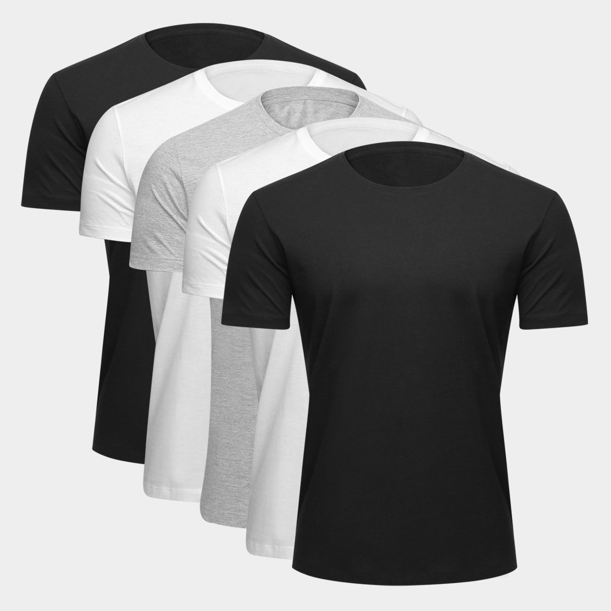 Kit Camiseta Básica c/ 5 Peças Masculina - Preto e Branco