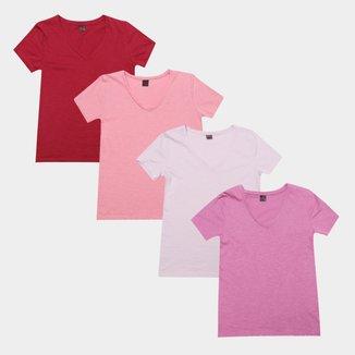 Kit Camiseta Básica Gola V Lisa Feminina c/ 4 Peças