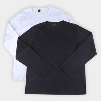 Kit Camiseta Básica Manga Longa Masculina c/ 2 Peças