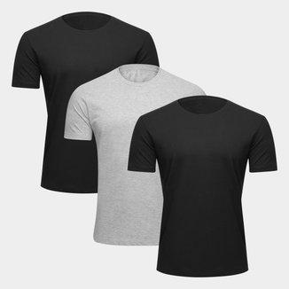Kit Camiseta Básica Masculina c/ 3 Peças