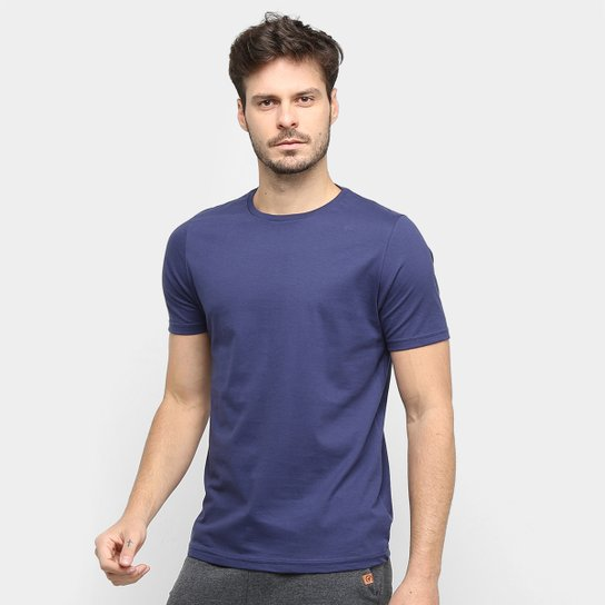 Kit Camiseta Básica Masculina c/ 5 Peças  - Marinho+Branco