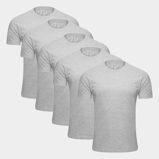 Kit Camiseta Básica Masculina c/ 5 Peças  - Mescla Claro