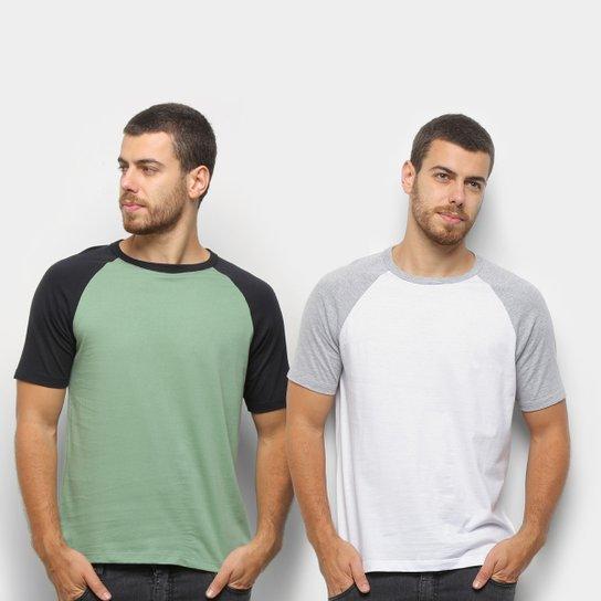 Kit Camiseta Básica Raglan Masculina c/ 2 Peças - Branco+Verde