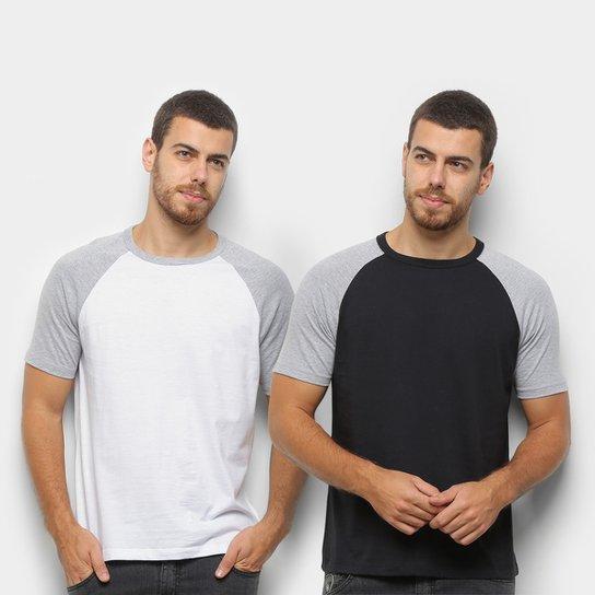 Kit Camiseta Básica Raglan Masculina c/ 2 Peças - Preto+Branco