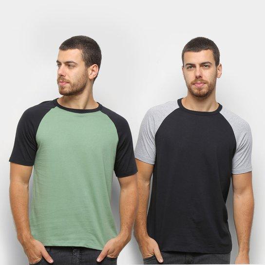 Kit Camiseta Básica Raglan Masculina c/ 2 Peças - Preto+verde