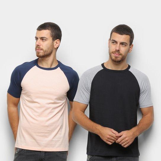 Kit Camiseta Básica Raglan Masculina c/ 2 Peças - Preto+Laranja