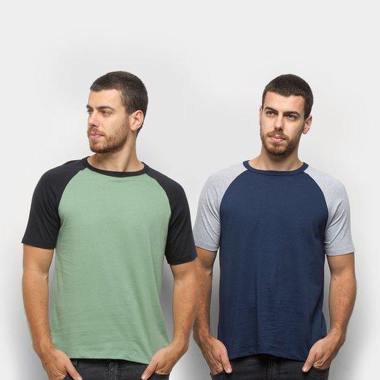 Kit Camiseta Básica Raglan Masculina c/ 2 Peças - Verde+Azul