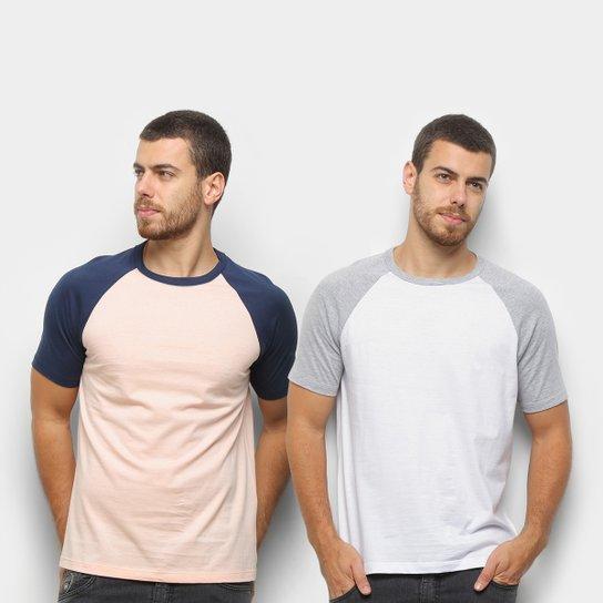 Kit Camiseta Básica Raglan Masculina c/ 2 Peças - Laranja+Branco