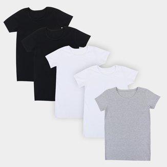 Kit Camiseta Básicos 5 Peças Feminina