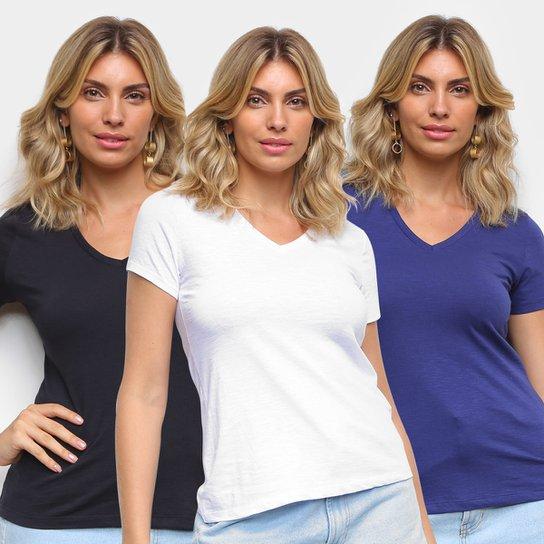 Kit Camiseta Básicos Gola V Lisa C/ 3 Peças Feminina - Marinho+Branco