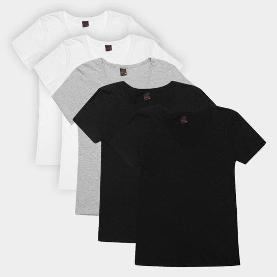 Kit Camiseta Básicos Gola V Lisa  C/ 5 Peças Feminina - Preto+Cinza