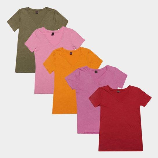 Kit Camiseta Básicos Gola V Lisa  C/ 5 Peças Feminina - Rosa+Vinho
