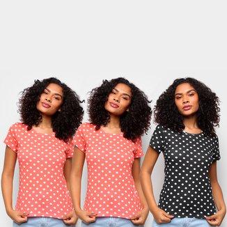 Kit Camiseta Básicos Poá c/ 2 Peças Feminina