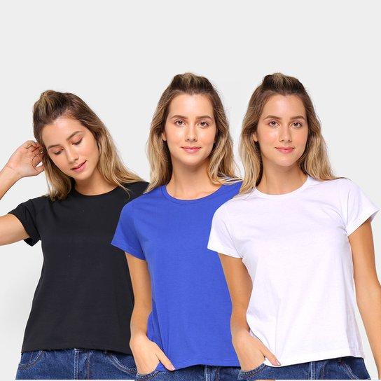 Kit Camiseta Burn Básica c/ 3 Peças Feminina - Preto+Azul