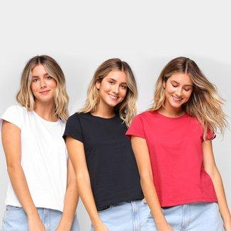 Kit Camiseta Burn Básica c/ 3 Peças Feminina