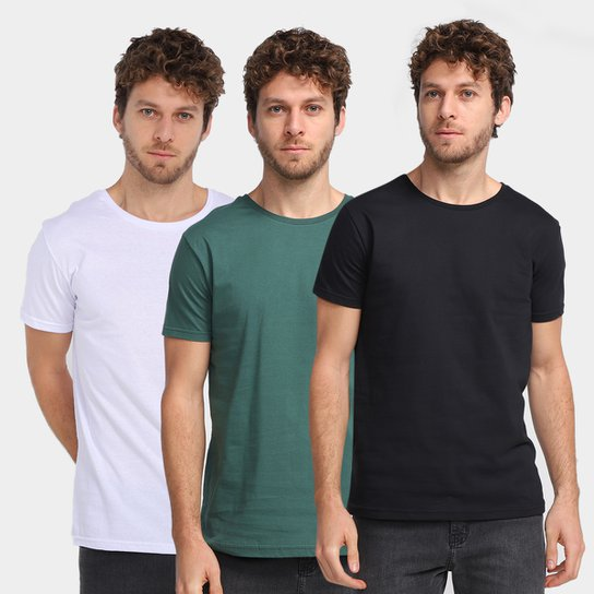 Kit Camiseta Burn Básica C/ 3 Peças Masculina - Preto+verde