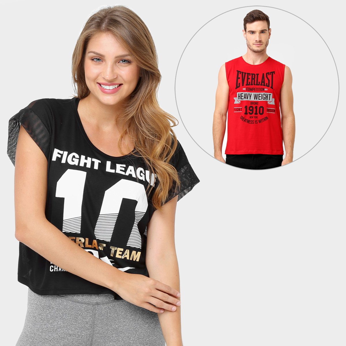 Kit Camiseta Everlast Cropped + Camiseta Regata Everlast - Compre Agora  2265b98fdf7