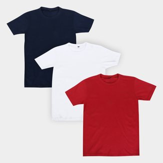 Kit Camiseta Manga Curta Infantil All Free Básica 3 Peças