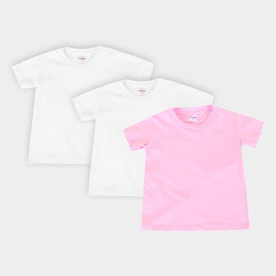Kit Camiseta Manga Curta Juvenil All Free Básica Feminina 3 Peças - Rosa+Branco