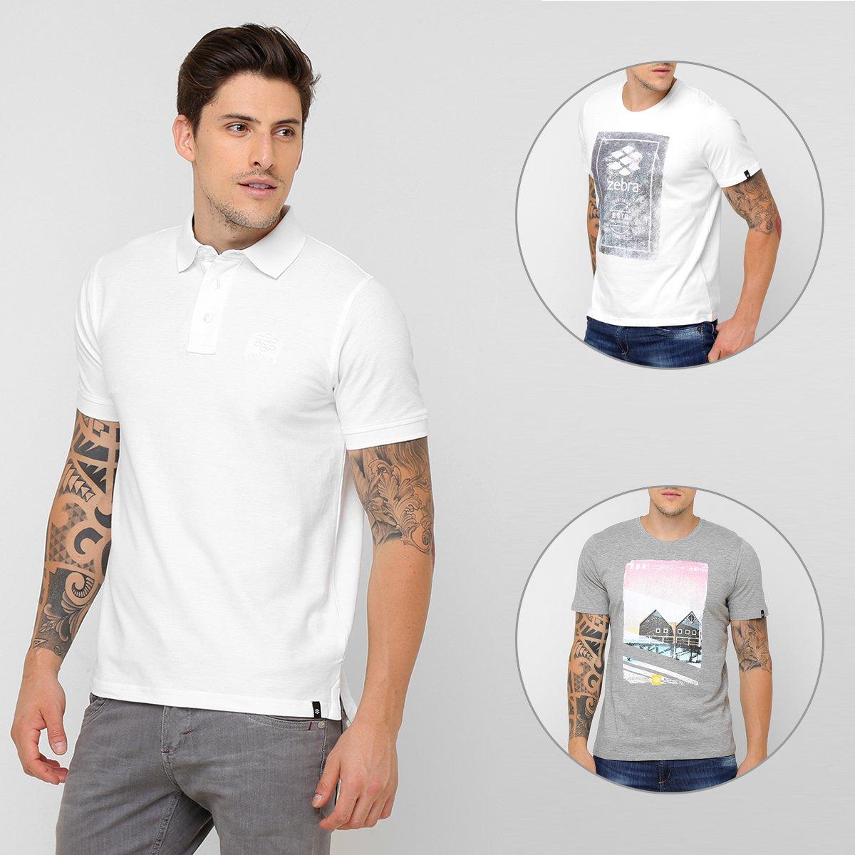 e2b468f5ff Kit Camiseta Zebra Rock Climbing + Camiseta Zebra Australia Coast + Camisa  Polo Zebra Signature - Compre Agora