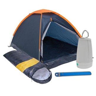Kit Camping Barraca Panda 2 Pessoas + Saco de Dormir + Lampião Lanterna + Sinalizador