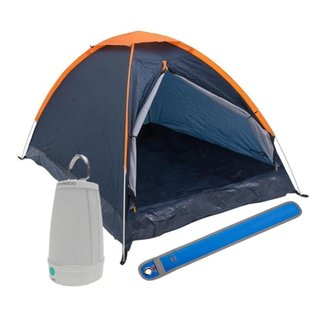 Kit Camping Barraca Panda para 3 Pessoas + Lampião Lanterna Led + Sinalizador Signal