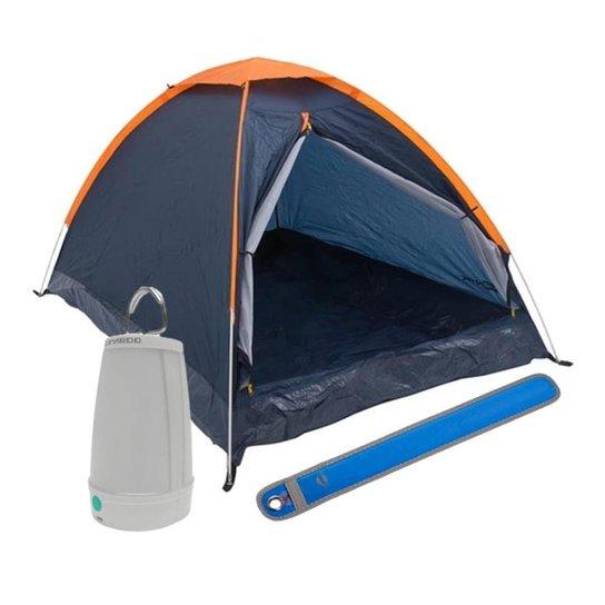 Kit Camping Barraca Panda para 3 Pessoas + Lampião Lanterna Led + Sinalizador Signal - Azul